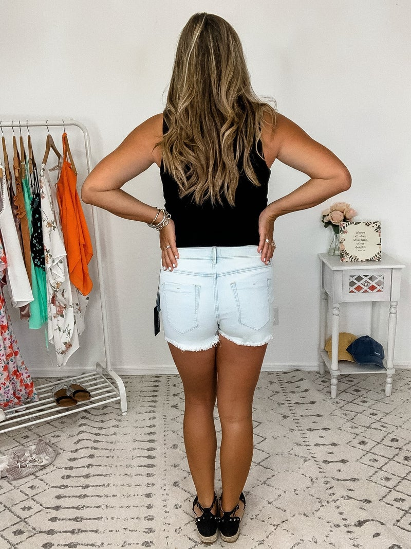 {Light Wash Cut Off Denim Shorts}