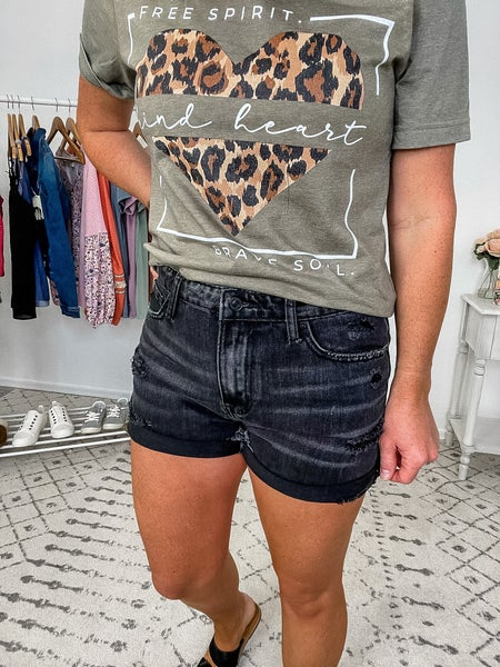 {Black High Rise Jean Shorts}