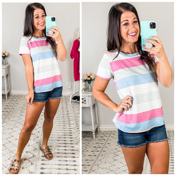{Color Stripes French Terry Top} *Final Sale*