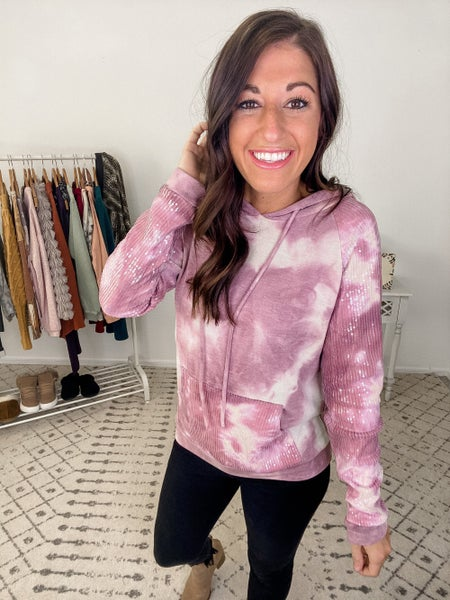 {Sequins Tie Dye Hoodie} *Final Sale*