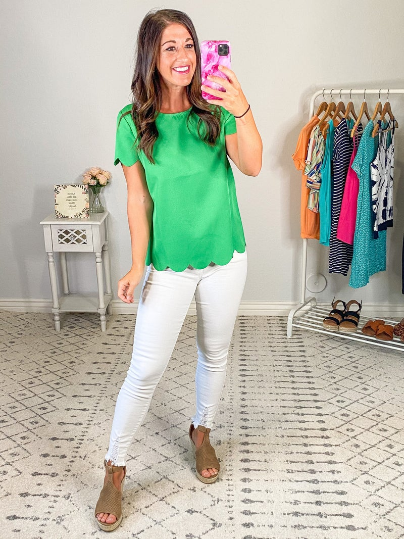 {Green Scalloped Top} *Final Sale*