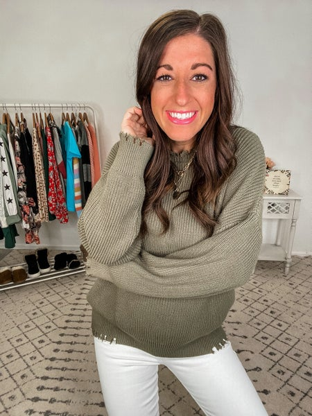 {Olive Frayed Oversized Sweater}