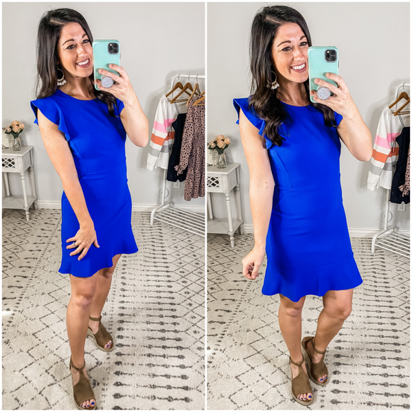 {Blue Ruffled Knit Dress} *Final Sale*