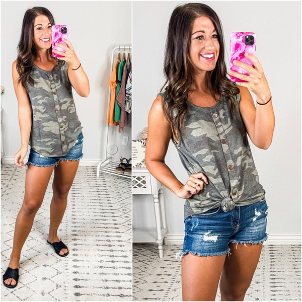 {Camo Decorative Buttoned Tank} *Final Sale*