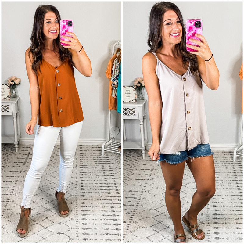 {Solid Button Down Tank} *Final Sale*