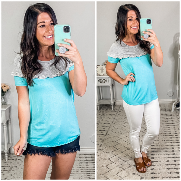 {Mint Grey Ruffled Top} *Final Sale*