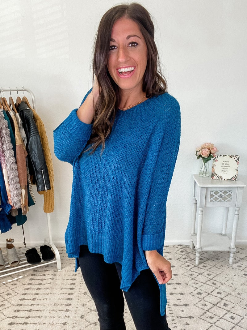 {High Low Teal Sweater}