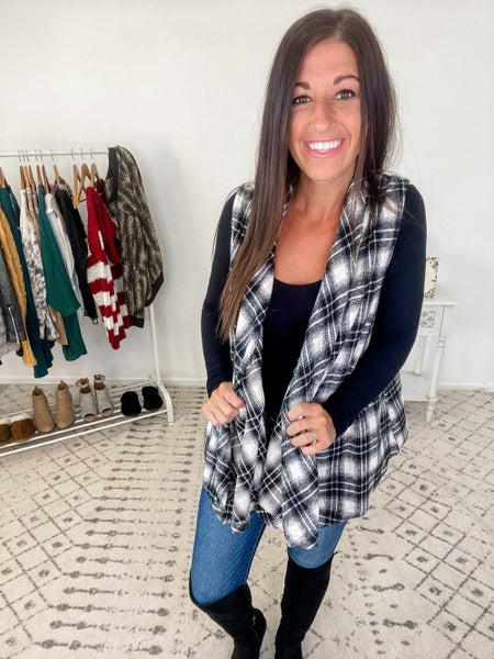 {Cozy Plaid Draped Vest *Final Sale*