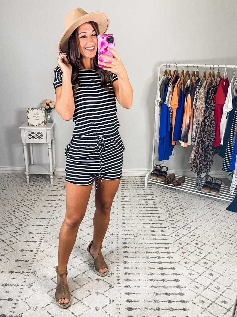 {Black Striped Relaxed Romper| *Final Sale*