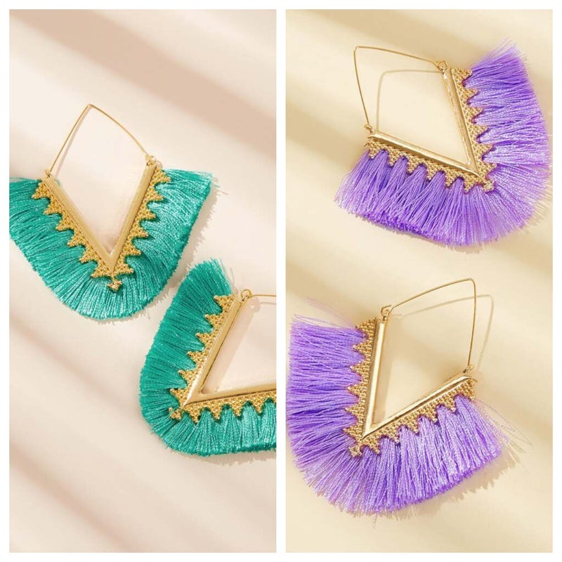 {Gold V Fringe Earrings} *Final Sale*