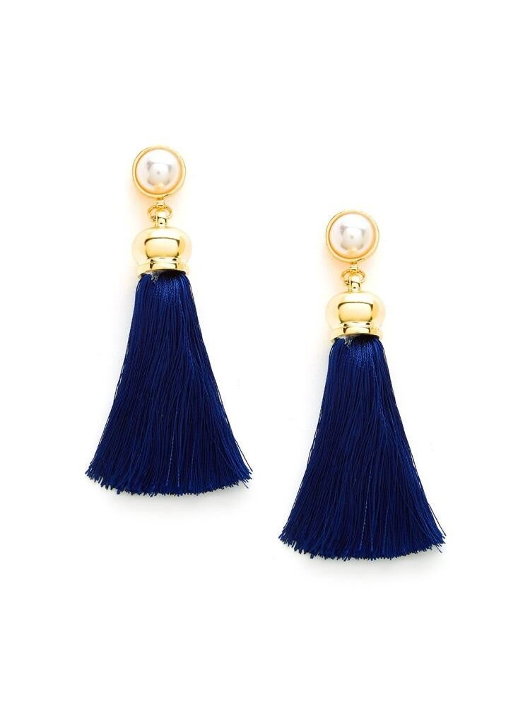{Pearl Navy Drop Earrings} *Final Sale*