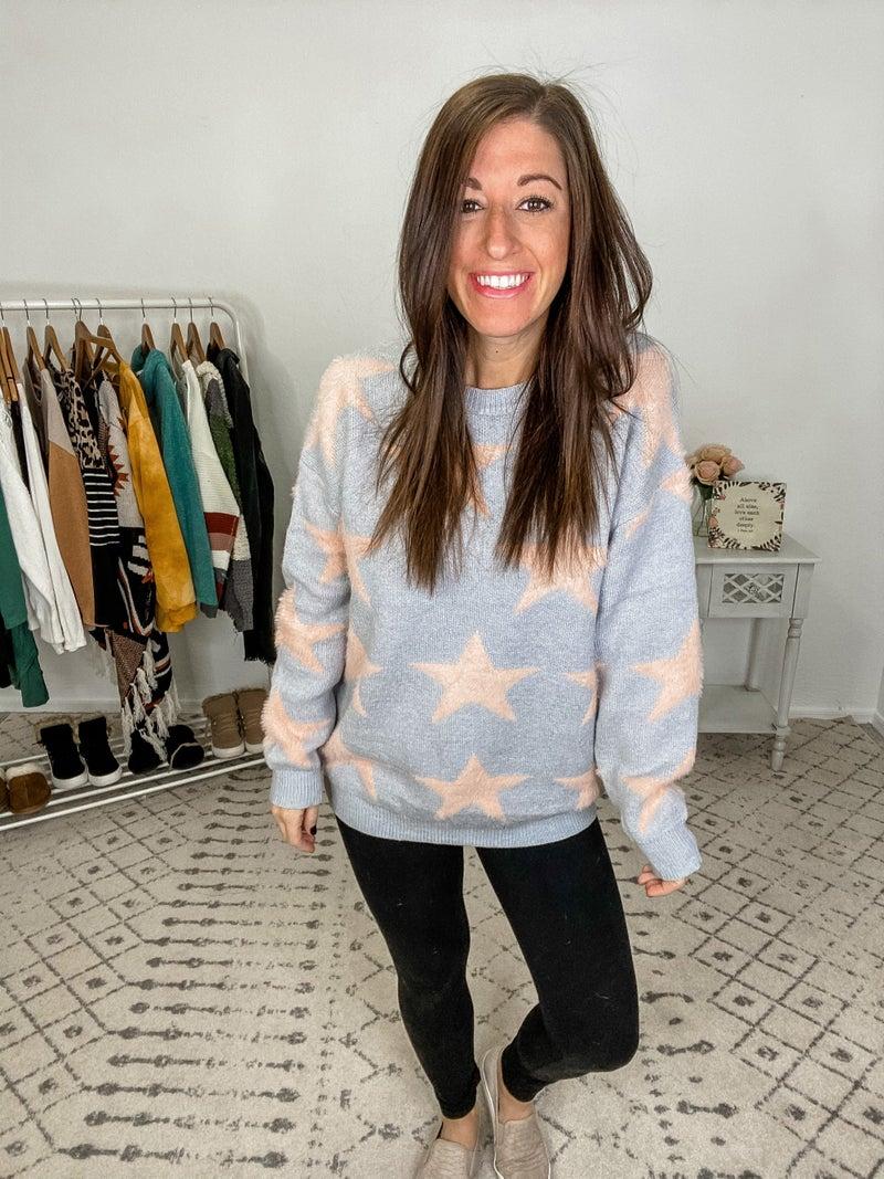 {Grey Fluffy Star Sweater}