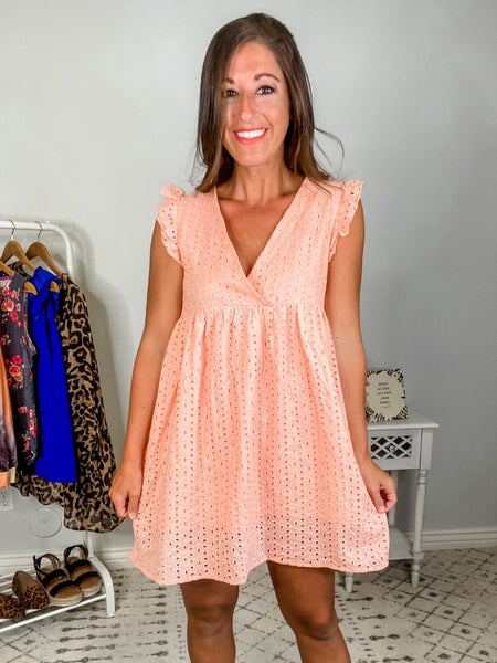{Coral Textured Woven Sundress}