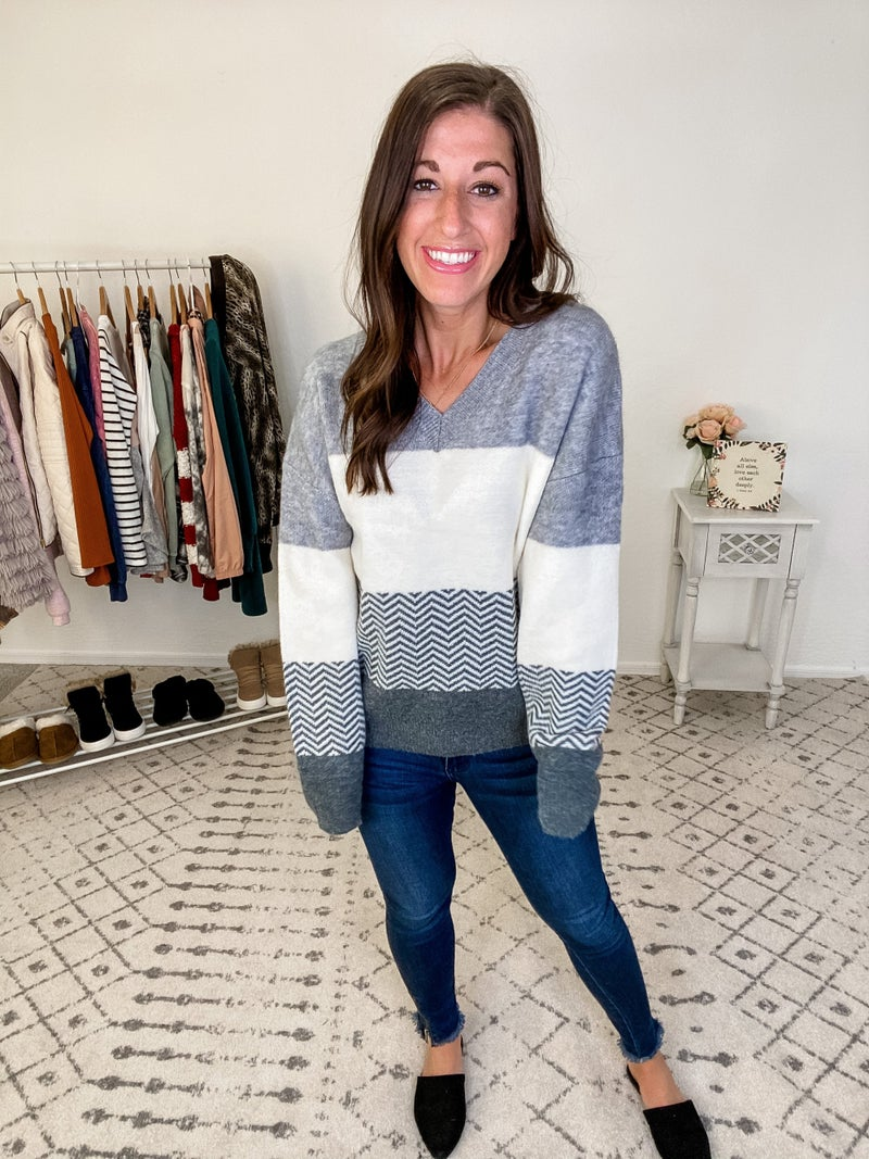 {Grey and Ivory Stripe Sweater}