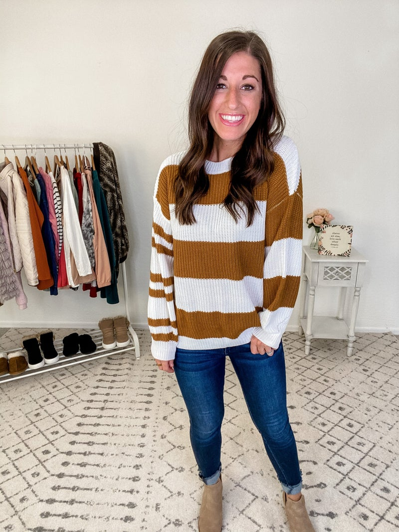 {Brown and Ivory Stripe Sweater}