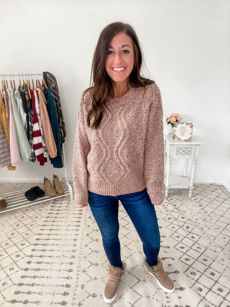 {Speckled Mauve Cable Knit Sweater}