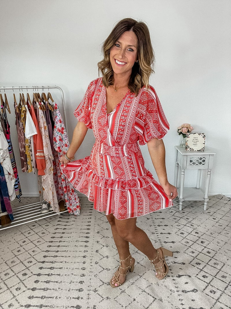 {Red & Ivory Paisley Dress}