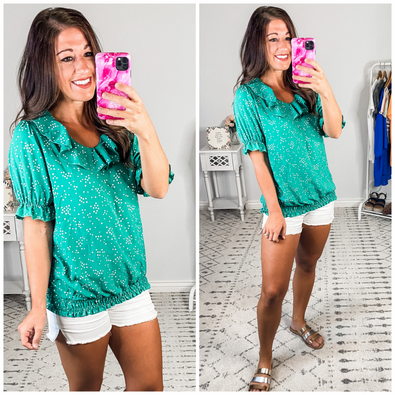 {Green Ruffle Dot Blouse} *Final Sale*