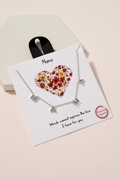 {M.A.M.A Charm Necklace} - Silver