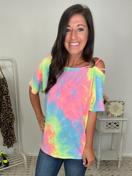 {Neon Strapped Shoulder Top}