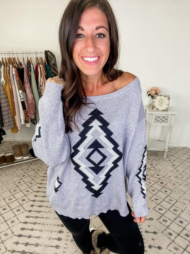 {Aztec Grey Sweater}