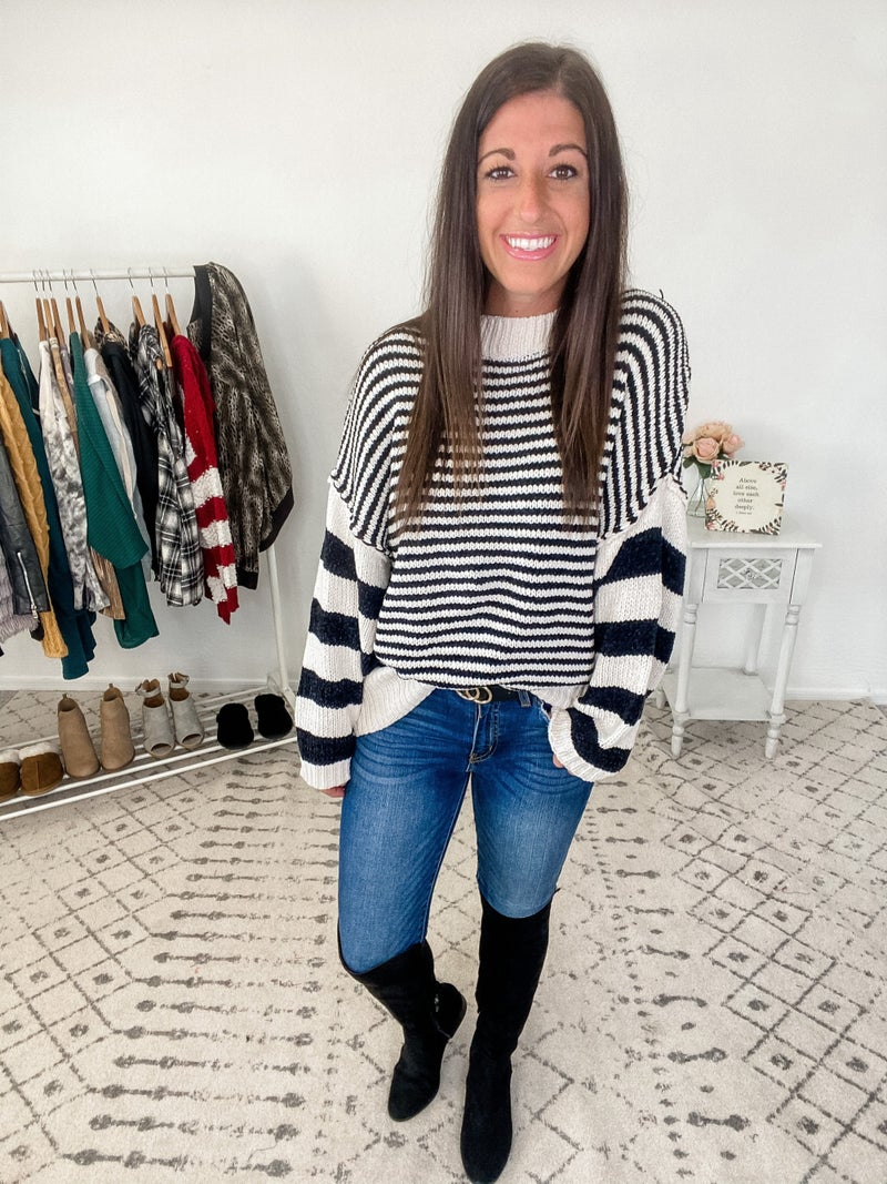 {Black and White Stripe Sweater}