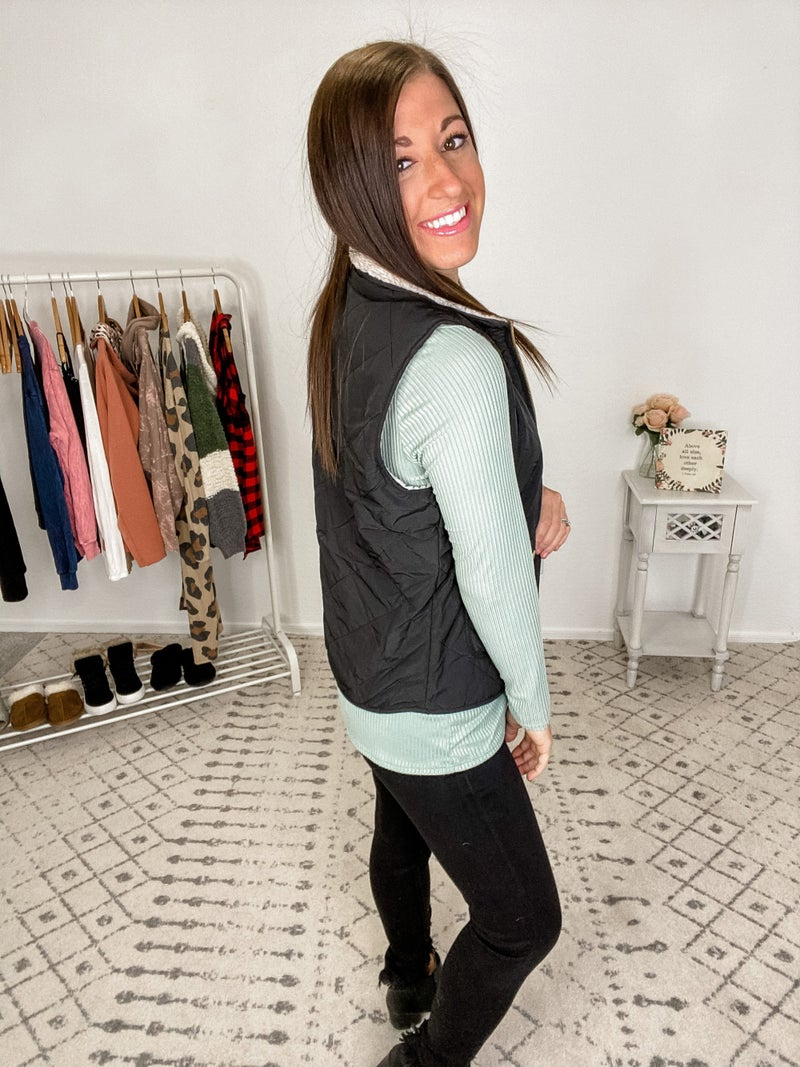 {Reversible Diamond Puffer Vest} *Final Sale*