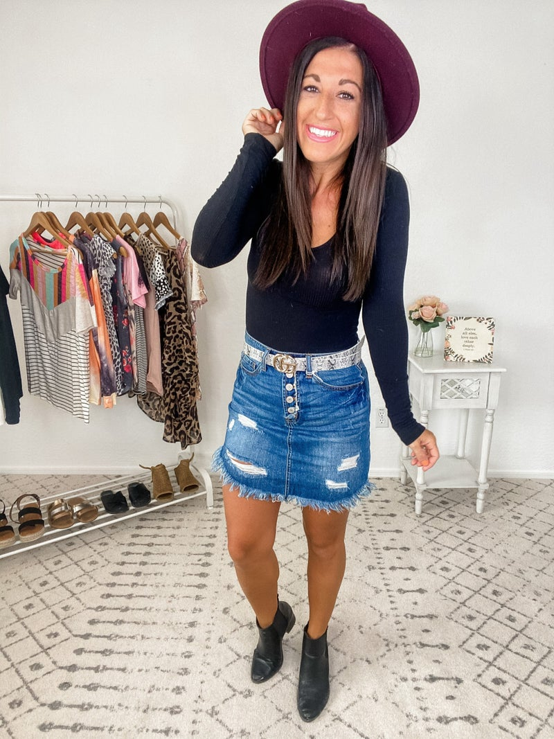 {High Waisted Button Jean Skirt} *Final Sale*