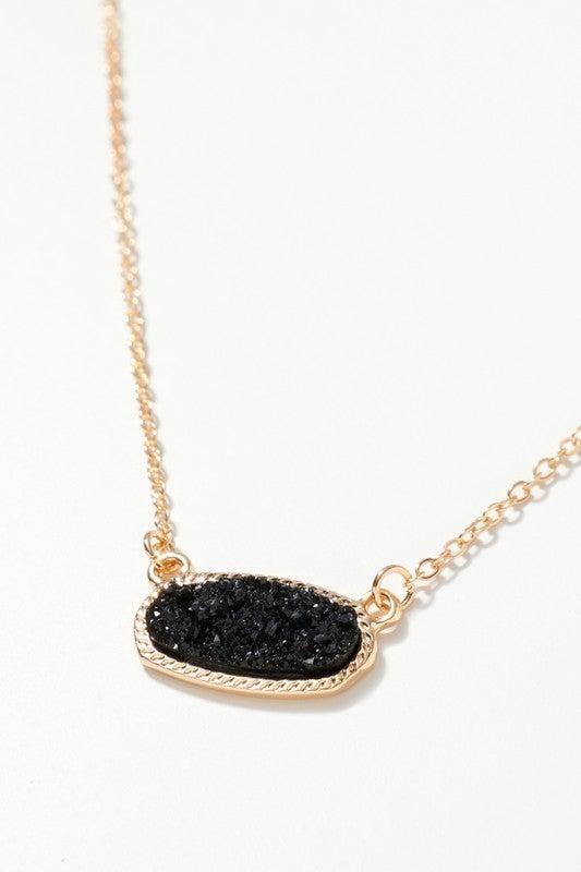 {Druzy Stone Charm Necklace}