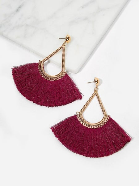 {Burgundy Fringed Fans} *Final Sale*