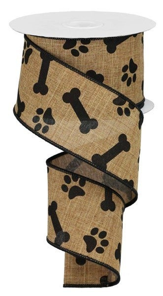 "2.5""X10yd Paw Print/Bones On Royal Tan/Black"