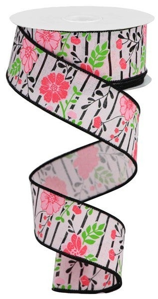"""1.5""""X10yd Floral Lines On Royal Multi Pink"""