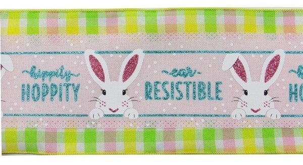 """4""""X10yd 2-In-1 Peeking Bunny On Royal Color: Pnk/Rbn Egg/Wht/Lime/Ylw"""