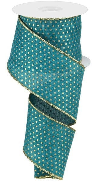 "2.5""X10YD ROYAL SWISS DOTS Teal/Gold"