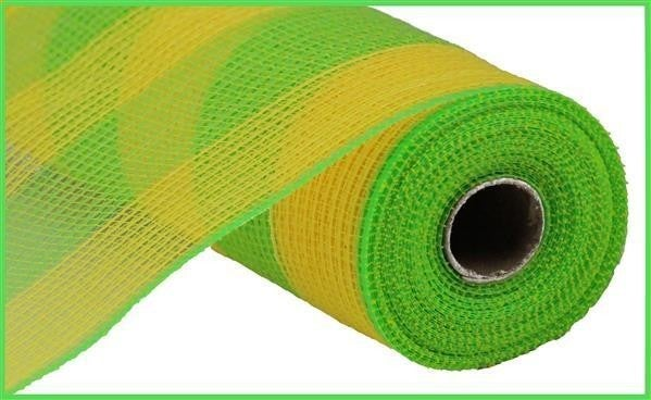 "10.5""X10yd Faux Jute/Pp Wide Stripe Yellow/Fresh Green"