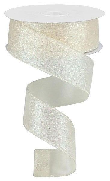 "1.5""X10yd Iridescent Glitter On Satin Ivory"