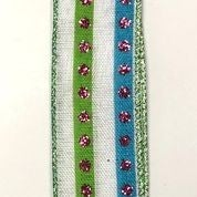 "White Linen/Turq-Fu Silver Stud Stripes 1.5""x10yd"