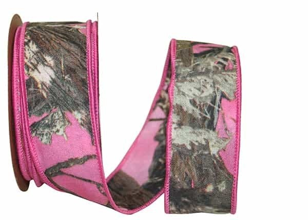 """HOT WOODLAND 2 SIDED WIRED EDGE 1.5""""x10yd pink"""