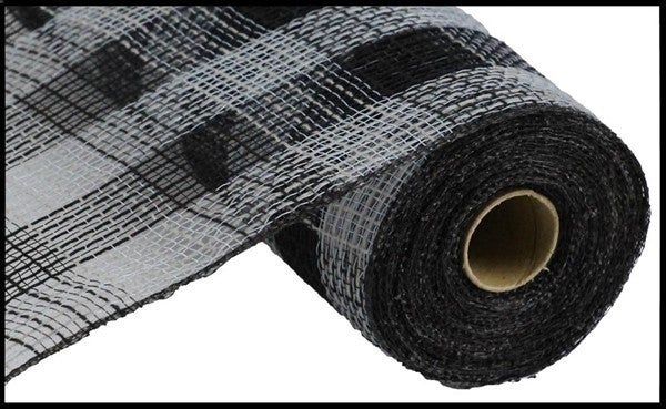 "10.5""X10yd Faux Jute/Pp Small Check Grey/Black"