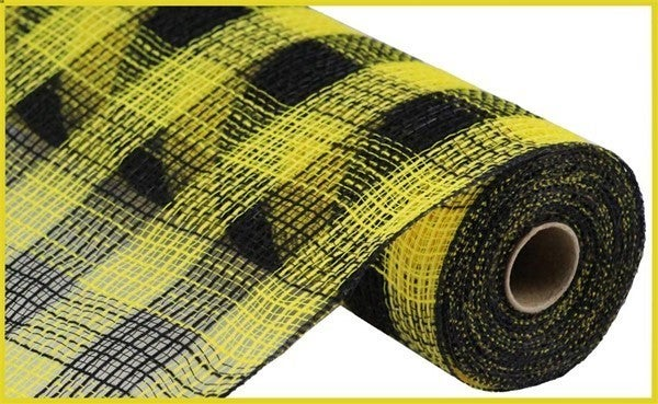 "10.5""X10yd Faux Jute/Pp Small Check Yellow/Black"