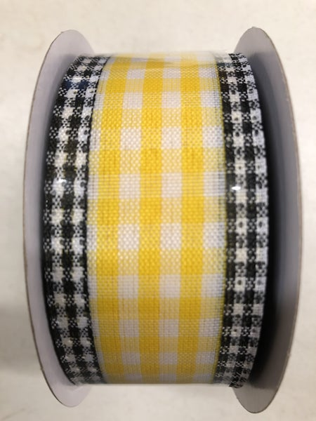 "1.5""X10yd Gingham Check/Edge Yellow/White/black"
