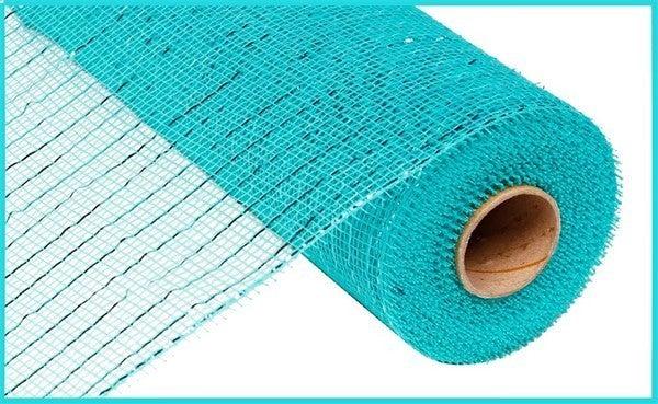 """10.25""""X10YD METALLIC MESH Color: Aqua W/Dk Turq Foil"""