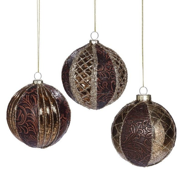 TEXTURED DETAIL ORNAMENT 4'' Set of 3