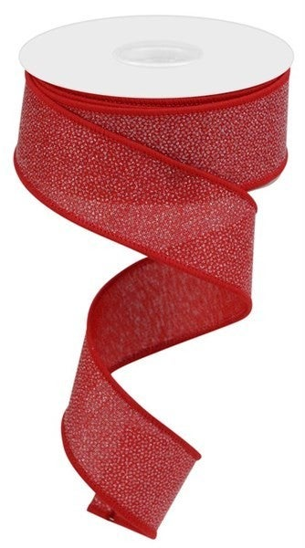 "1.5""X10yd Glitter On Royal Burlap Red"