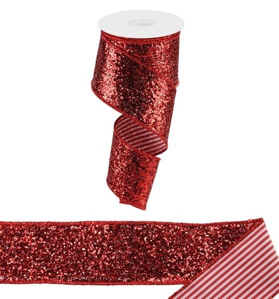 "2.5""X10yd Large Glitter/Vertical Stripe Red/White"