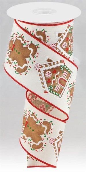 "2.5""X10yd Gingerbread Man/House Cream"