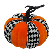Velvet Harlequin Rhinestone Pumpkin H6   Orange/Black/White