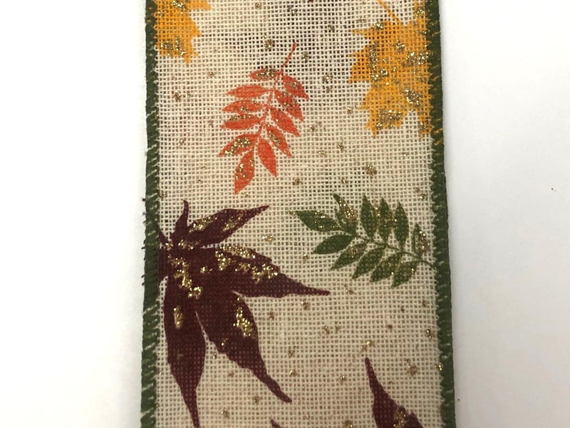 """Canvas/Moss Burgundy Yellow Leaves 2.5""""x10yd"""
