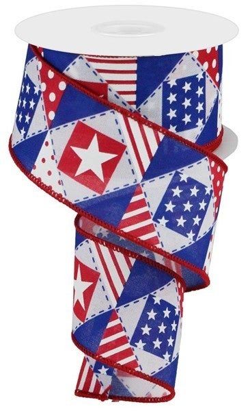 "2.5""X10yd Patriotic Patchwork/Royal White"
