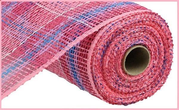 "10"" X 10YD PLAID POLY BURLAP MESH Color: Pink/Fsha/Lav/Blue/Wht"